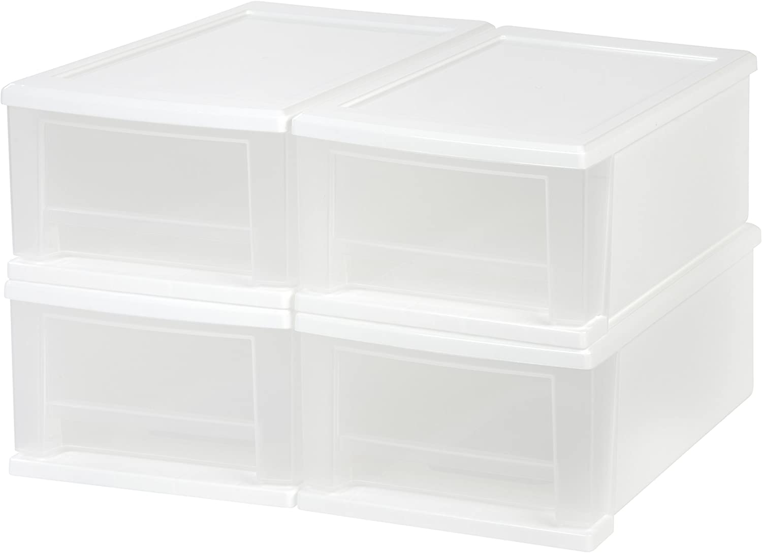 IRIS 7 Quart Stacking Drawer, 4 Pack, White