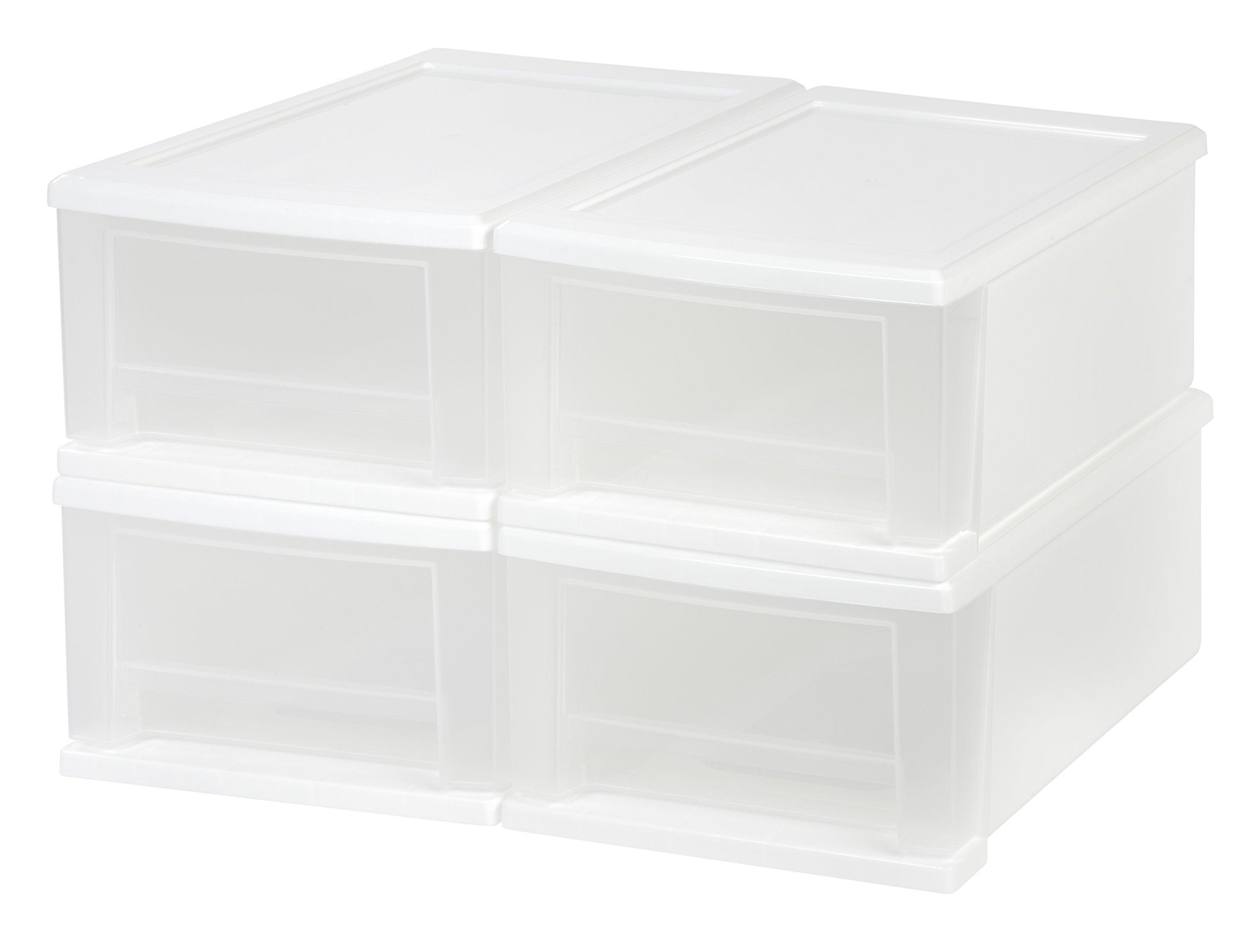 IRIS 7 Quart Stacking Drawer, 4 Pack, White