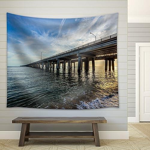 wall26 – Chesapeake Bay Bridge – Fabric Wall Tapestry Home Decor – 68×80 inches