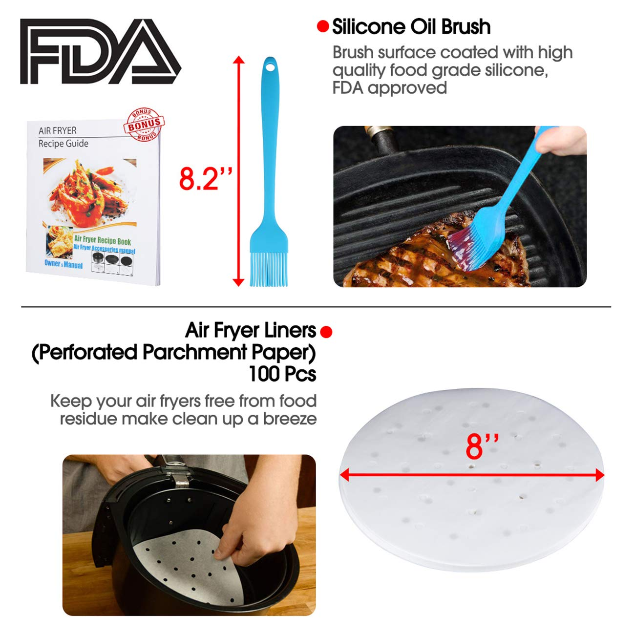 Air Fryer Accessories, XL Air Fryer Accessories with Recipe Cookbook for Gowise Phillips USA Cozyna Airfryer, Set of 10, Deep Fryer Accessories, Fit all 3.7QT-5.3QT-5.8QT-6.8QT, FDA Approved, BPA Free by RASSE (Image #5)