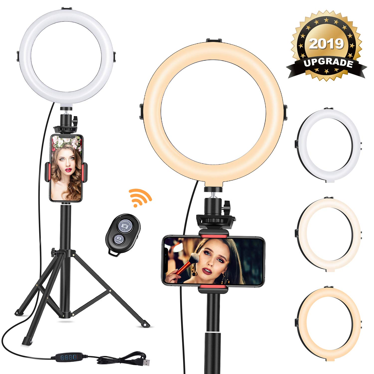 8'' Ring Light with Tripod Stand - Dimmable Selfie Ring Light LED Camera Ringlight with Tripod and Phone Holder for Live Stream/Makeup/YouTube Video, Compatible for iPhone Android, Remote(Upgraded) by VIEWOW