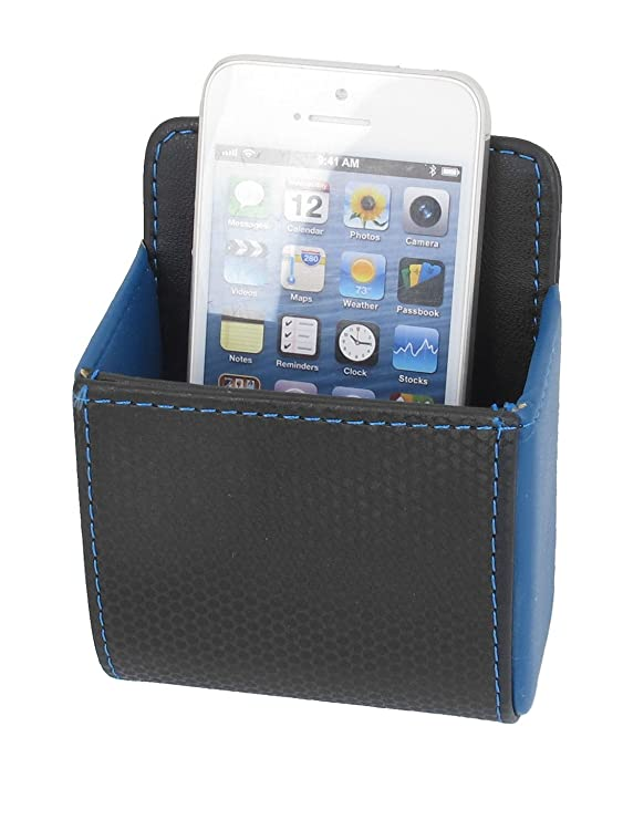 Amazon.com: eDealMax Negro Azul de imitación de Cuero auto soporte Para teléfono Bolsa de almacenamiento de bolsillo w Gancho: Electronics