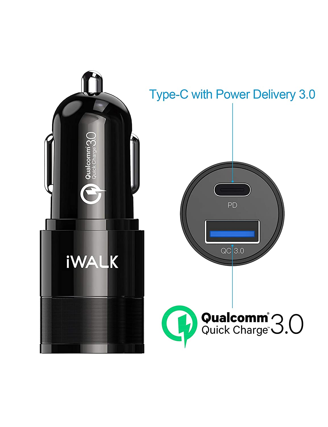 iWALK USB C PD Car Charger with 36W Output, 18W USB-C 5V 2.4A Dual Port Compatible with Google Pixel 2 XL, MacBook, iPhone Xs Max XR X, Nintendo Switch and More