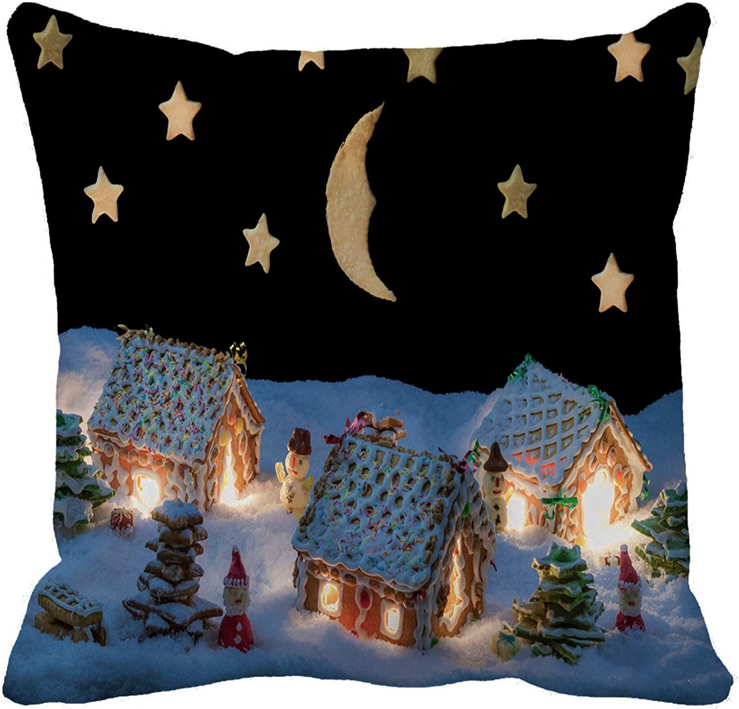 Awowee Throw Pillow Cover House Gingerbread Home at The Night in Winter Cake 18x18 Inches Pillowcase Home Decorative Square Pillow Case Cushion Cover