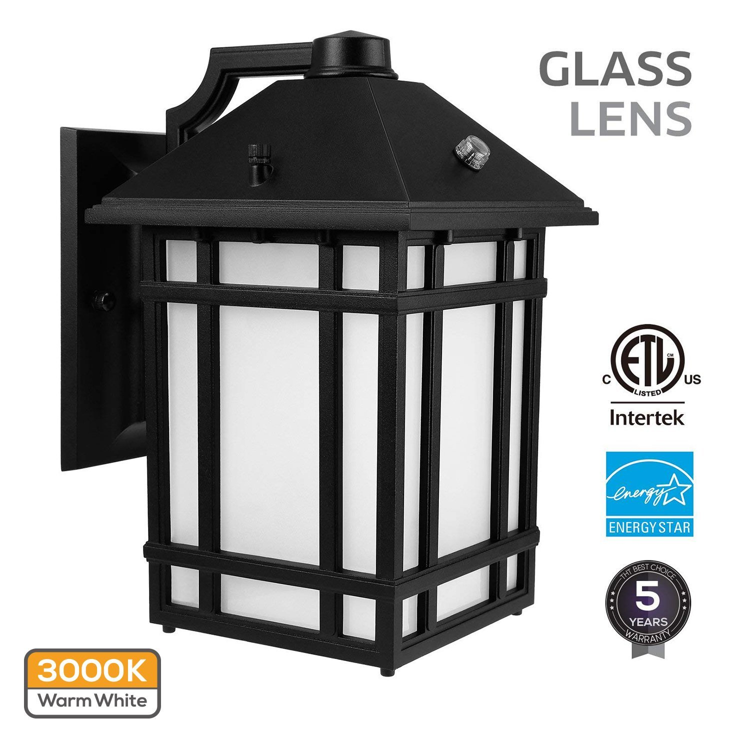 LED Outdoor Wall Lantern with Dusk to Dawn Photocell, 14W (60W Equiv.), Glass Lens, Energy Star & ETL Listed Exterior Wall Mount Lighting Fixture, 3000K Warm White, 1000lm, 5 Years Warranty