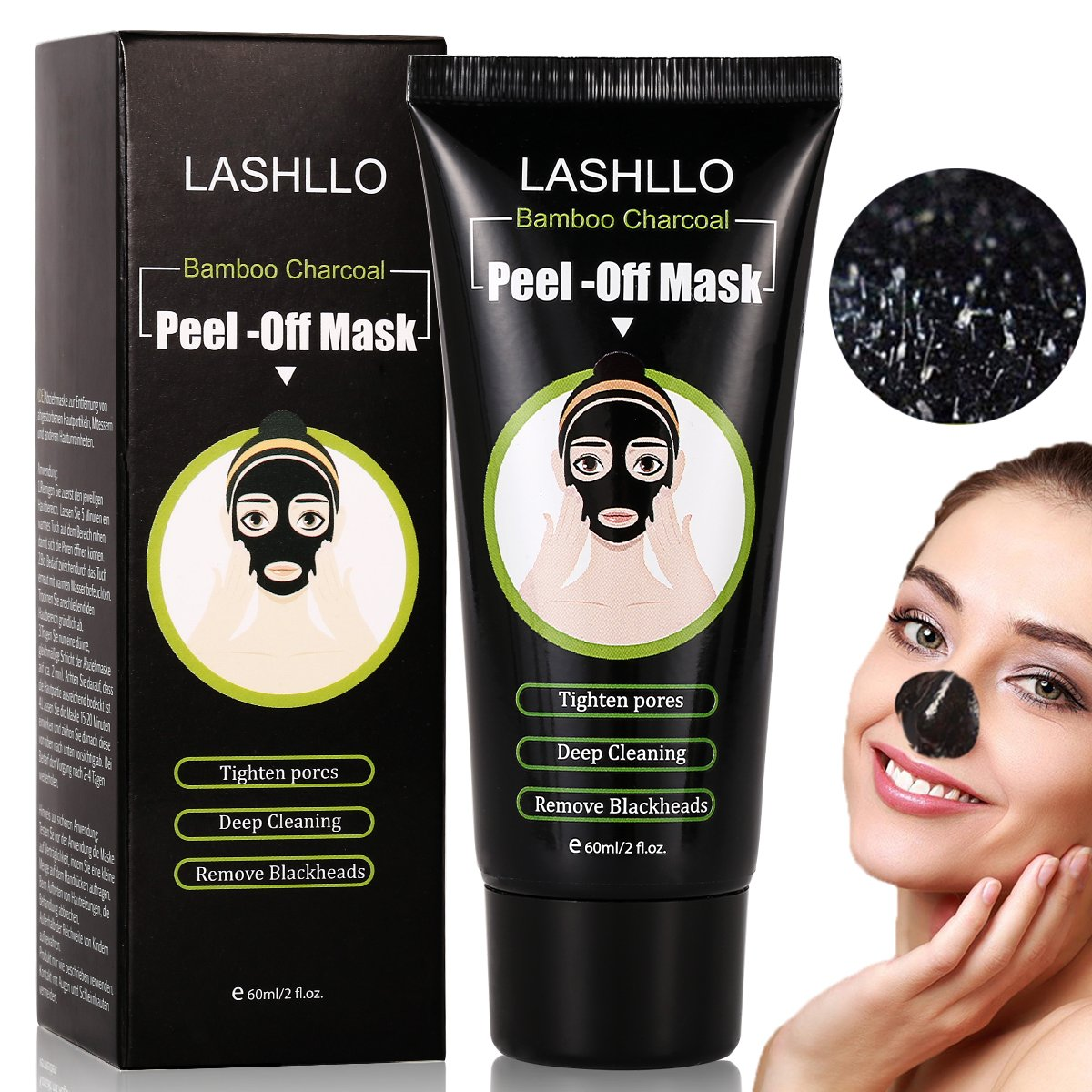 Anti Mitesser Maske Peel Off Maske Blackhead Maske Gesichtsmasken Schwarz, Tiefenreinigung Mitesser Entferner Anti Akne Öl-Kontrolle Purifying, 60g LASHLLO