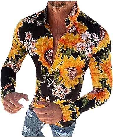 waotier Camisetas de Manga Larga Camisa Estampada de Flores ...