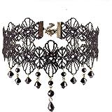 Jane Stone Damen Halskette schwarz Choker Kette Kropfband Blume Form mit schwarz Beads Gothic Stil Kette aus Spitze Resin und Metalllegierung