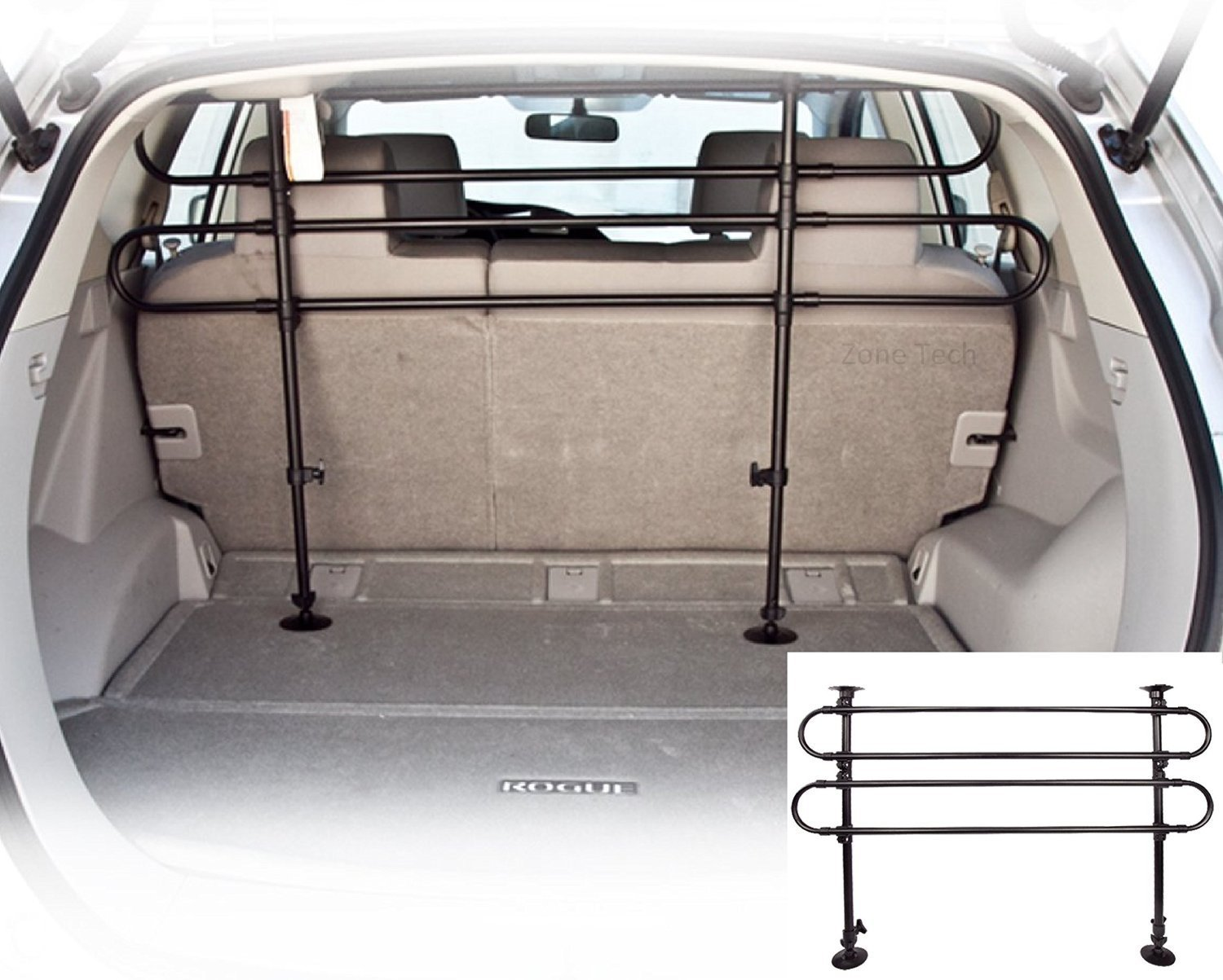 Zone Tech PE0002-C Black Back Seat Barrier Dog Cage (Pet Vehicle Travel Car) by Zonetech (Image #1)