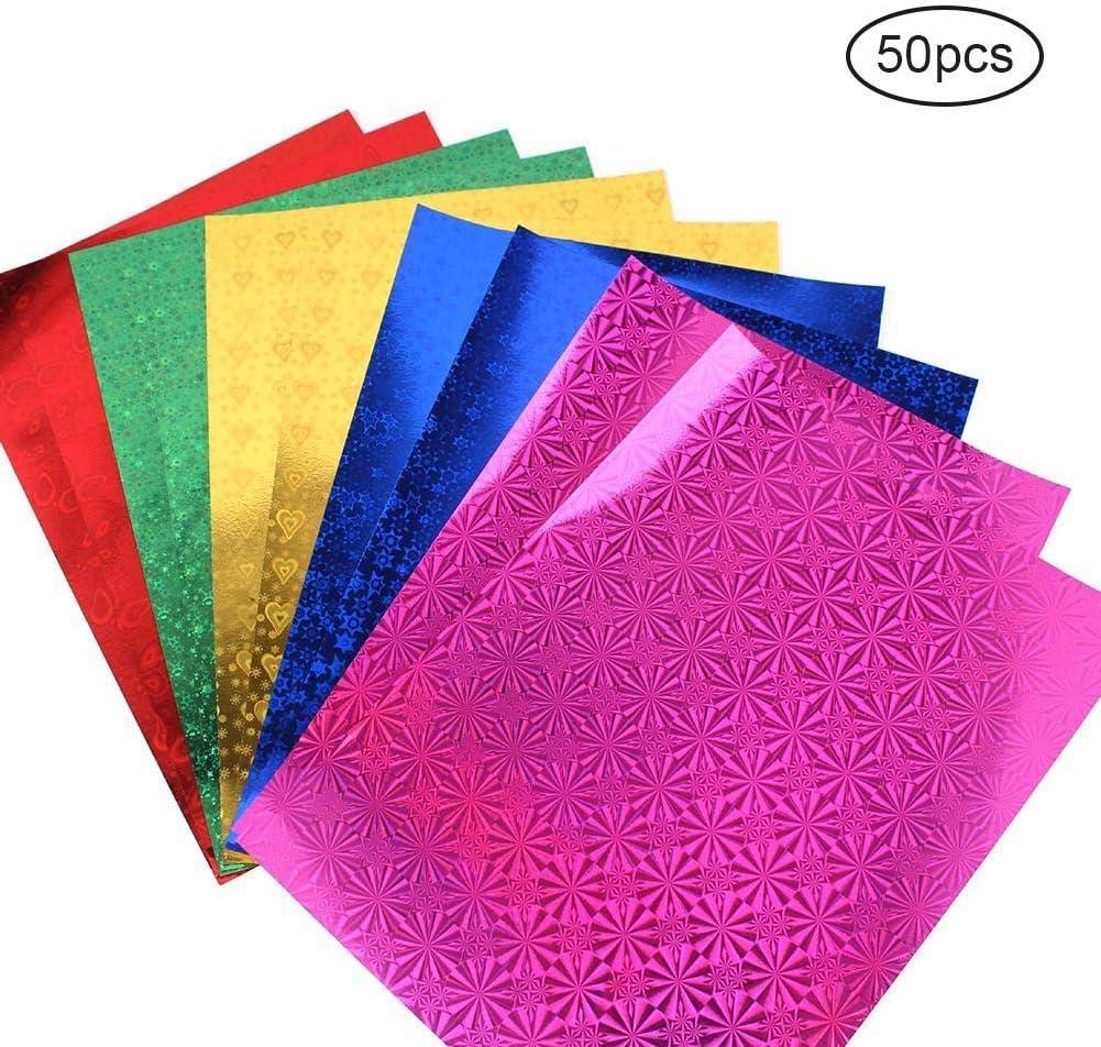 50 papeles de origami de doble cara, cuadrados hechos a mano, papel plegable, colores vivos, plegables, con purpurina, material de origami para artes y manualidades: Amazon.es: Oficina y papelería