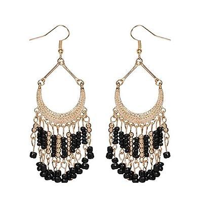 713d3e85dbf335 Fashion Trendy Long Metal Hanging Earrings for Women / AZESEB001 (Black)