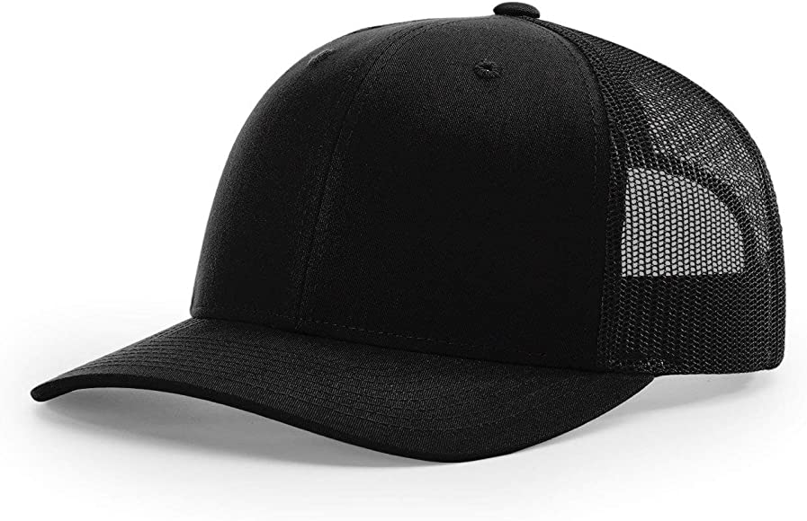 b698a0c4 Amazon.com: Richardson Black 112 Mesh Back Trucker Cap Snapback Hat ...