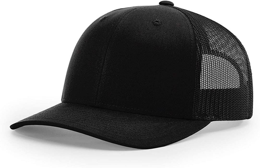 42fd57d43755a Amazon.com  Richardson Black 112 Mesh Back Trucker Cap Snapback Hat ...