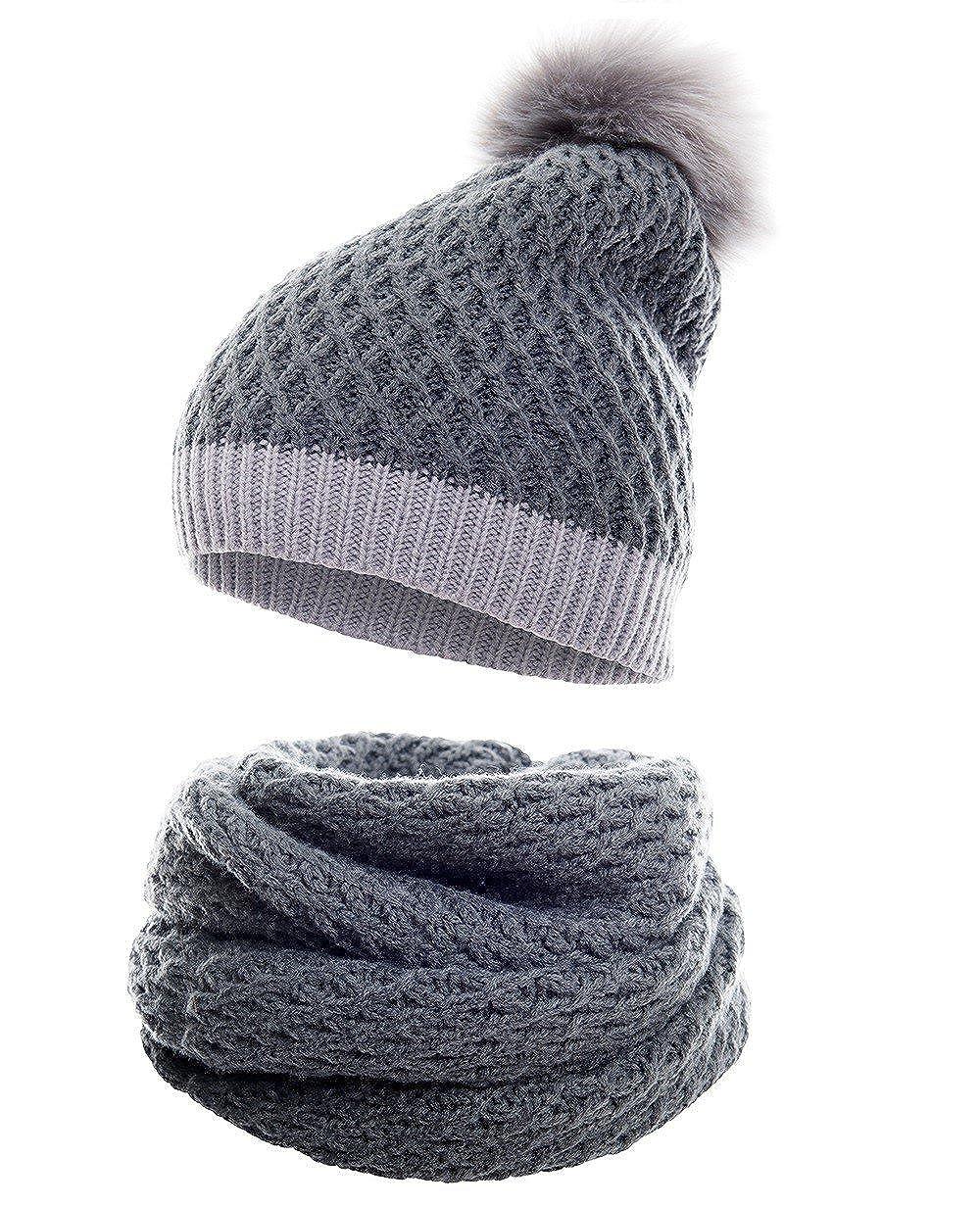 fc52716a9cb34 Hilltop Products Ensemble combiné d'hiver écharpe et bonnet en tricot  assorti/bonnet à pompon/ 4C-marron clair