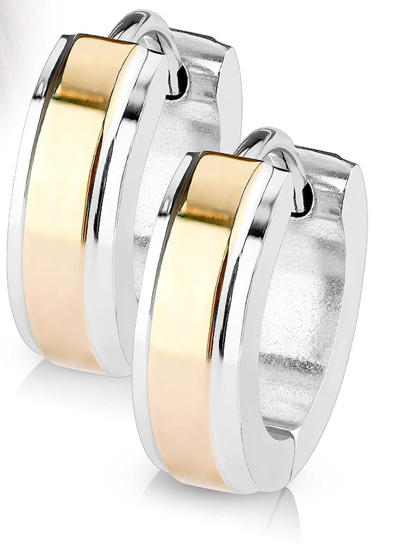 14MM Hoop Earrings Stainless Steel Hinged Hoop Earring with Plate Center Layer Rhodium Plated Earrings For Men Women Huggie Hypoallergenic Hoop Earrings (Rose Gold Plated) Jewels Fashion E6022 RG