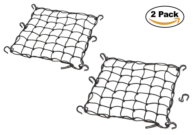 15''x15'' Cargo Net featuring 6 Adjustable Hooks & Tight 2''x2'' Mesh, Black (2-Pack)