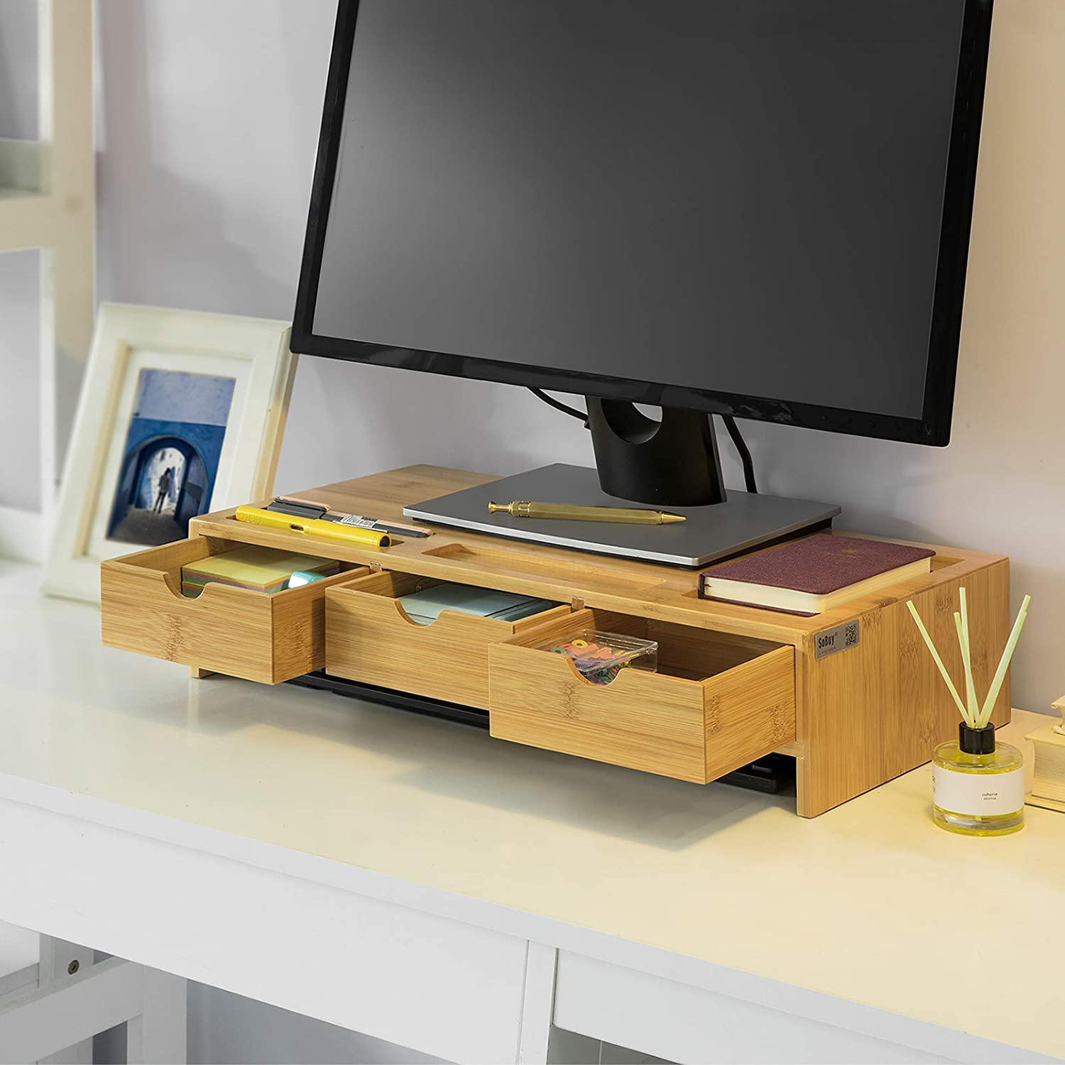 Monitor Stand Computer Screen Monitor Stand Monitor Riser Desk Organizer with 2 Drawers SoBuy/® BBF02-SCH
