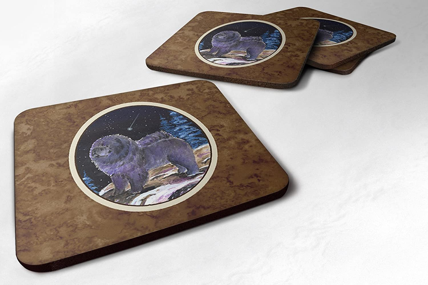 Set of 4 Multicolor Carolines Treasures SS8456FC Starry Night Chow Chow Foam Coasters Set of 4 3.5 H x 3.5 W