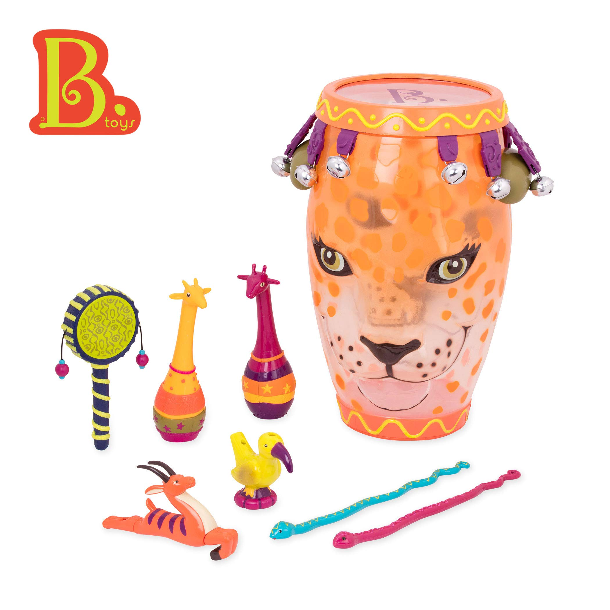 B. Toys - B. Jungle Jam - Toy Drum Set (Includes 9 Percussion Instruments for Kids) by B. toys by Battat