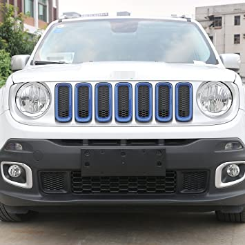 Blue JeCar 7pcs Front Grille Trim Inserts Grill Cover For Jeep Renegade 2015 2016 2017