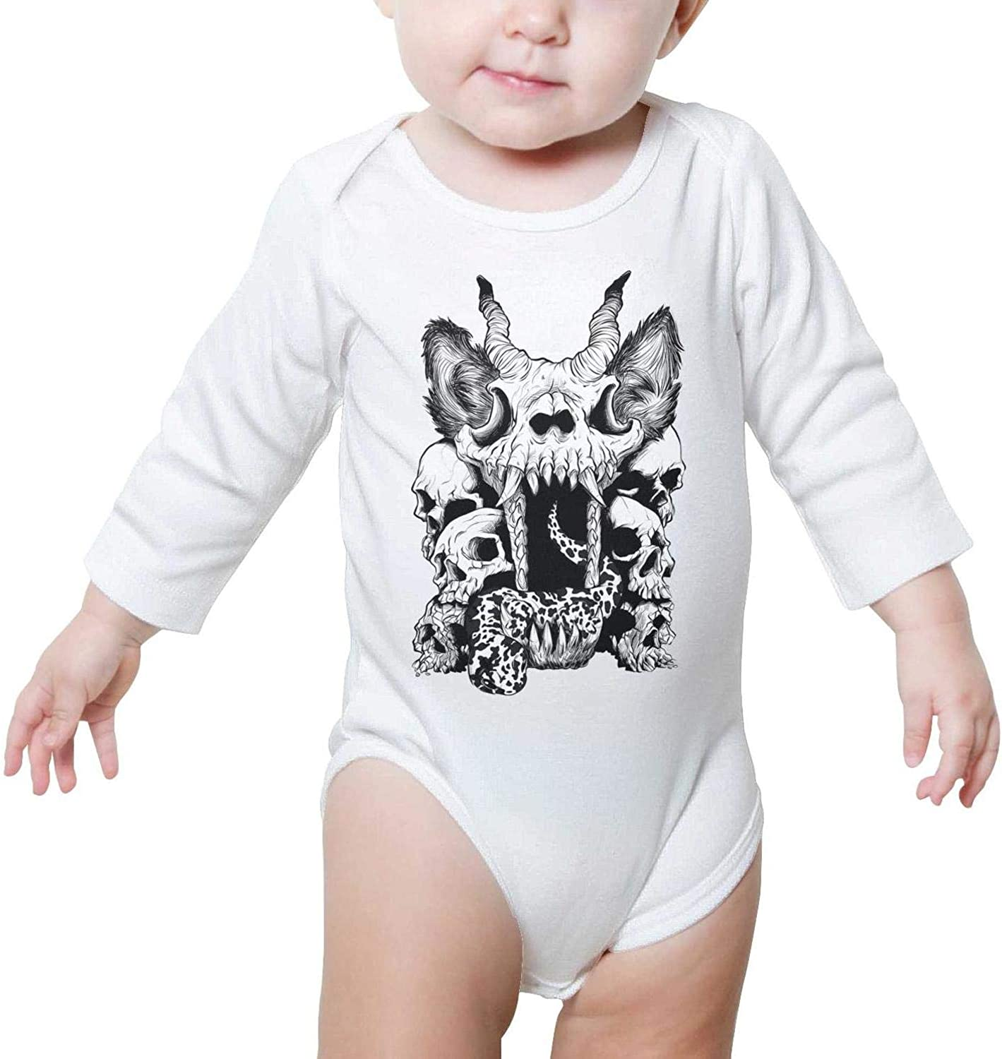 Lightning Skull Death Baby Onesies Clothes Bodysuits Long Sleeve Natural Organic Cotton Unique