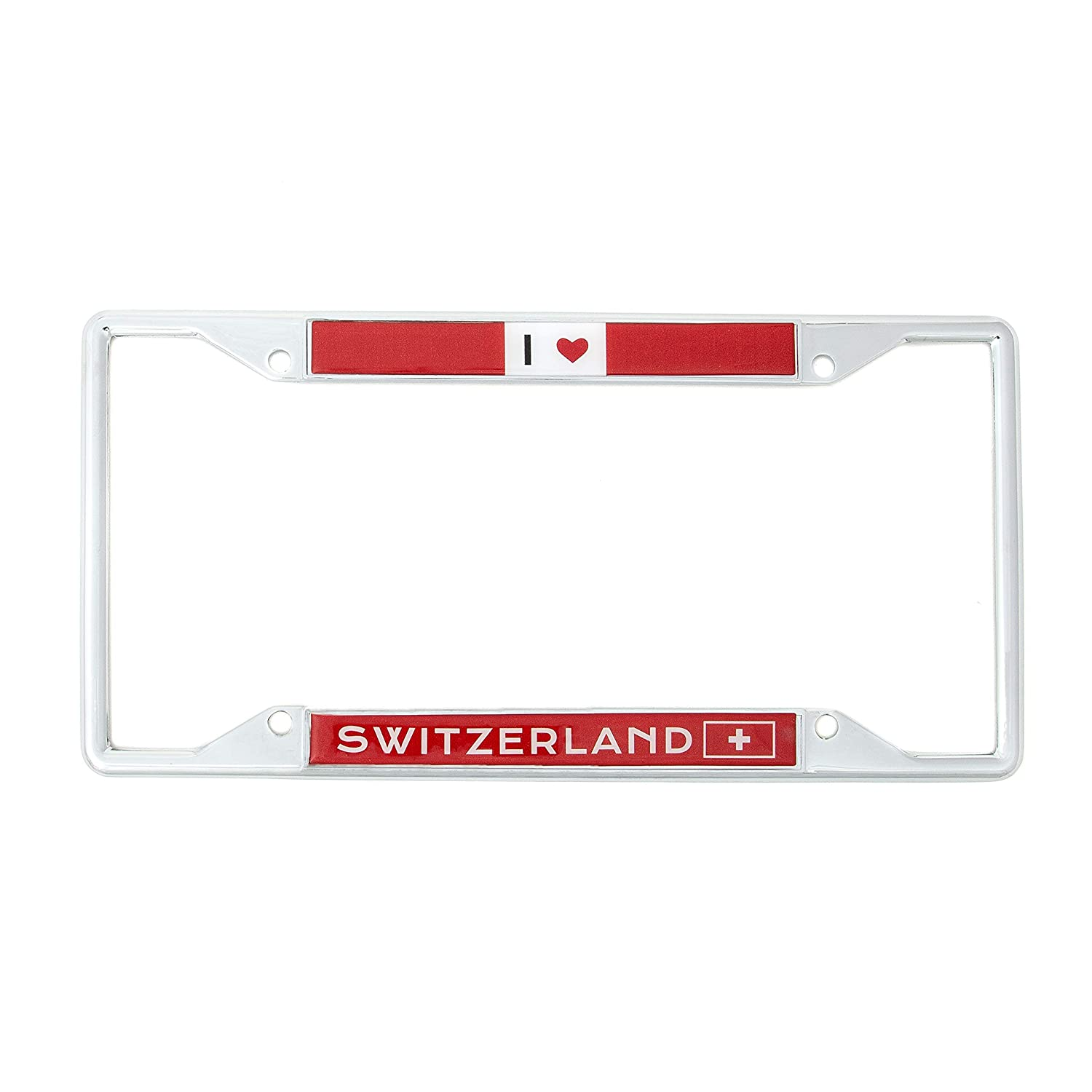 Desert Cactus Country of Switzerland I Heart Love License Plate Frame for Front Back of Car Vehicle Truck Swiss
