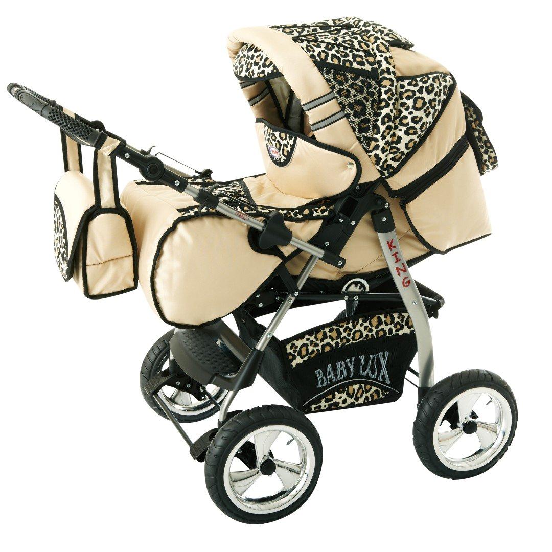 Lux4kids Trío Cochecito 3 in 1 Silla de paseo ruedas fijas + capazo + silla para coche VIP Hecho en Europa Accesorios opcionales iCaddy crema & leopardo: ...