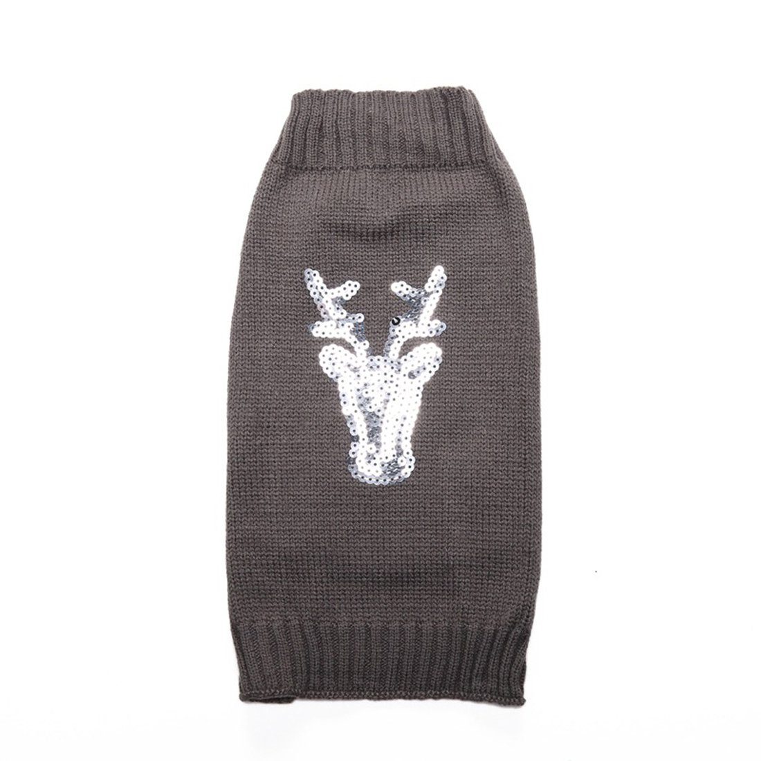 GabeFish Silver Elk Pattern Sweater For Dogs Cats Reindeer Animal Embroidery Print Xmas Winter Pets Clothes Apparel Gray Medium