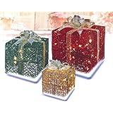PENN 52-837-066 3-Piece Glittering Gift Box Lighted Christmas Yard Art Decoration Set