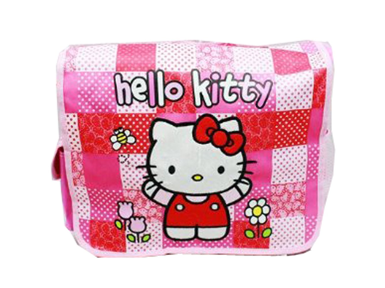 85%OFF Pink and Red Checkered Flowers Hello Kitty Messenger Bag - Hello Kitty Laptop Bag