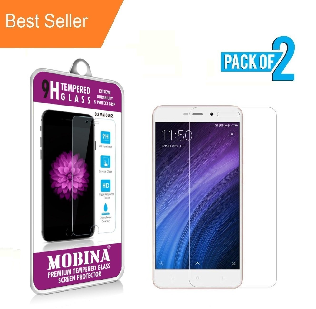 Mobina Xiaomi Mi Redmi 4a Premium Quality Curved Tempered Screen Backdoor Protector Guard Pack Of 2 Buy