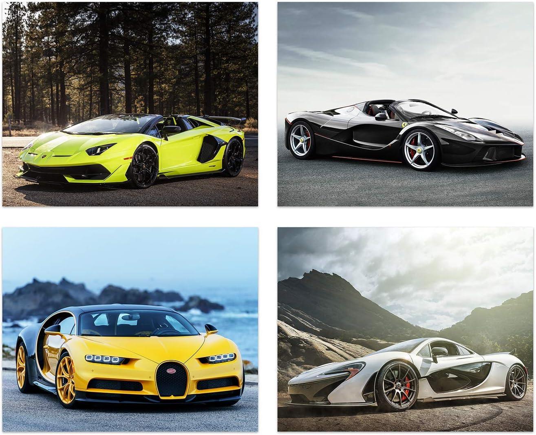 Insire Sports Car Posters of Sports Cars - Set of 4 Unframed (10 inches x 8 inches) Exotic Spercar Prints - LaFerrari - Lamborghini Aventador - Bugatti Chrion - Mclaren P1 - Set 2