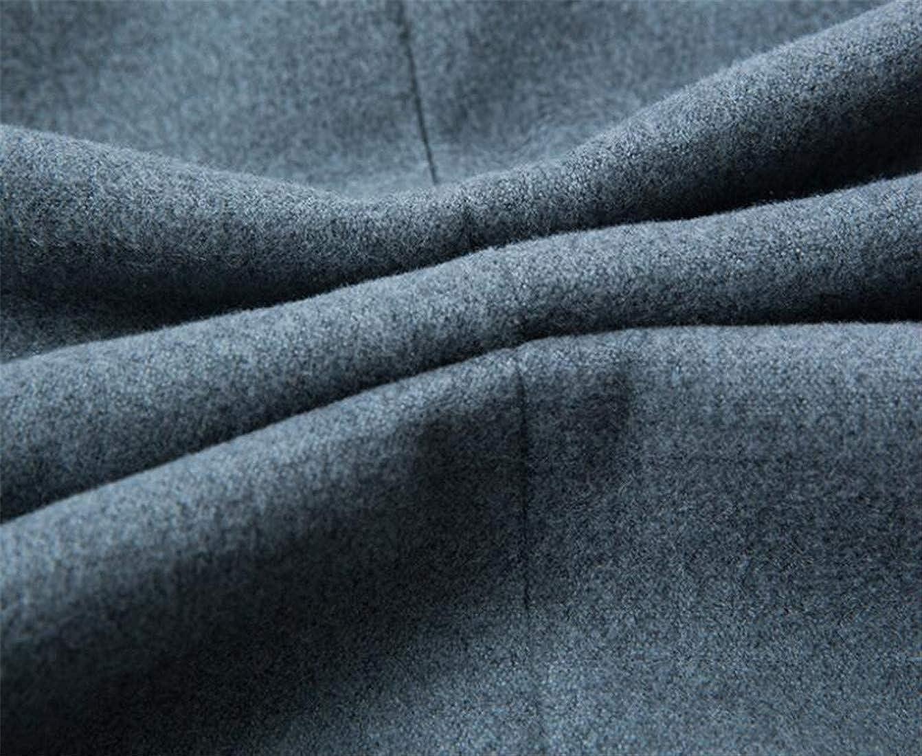 Bigbarry Mens Winter Slim Warm Overcoat Wool Blend Outwear Peacoats