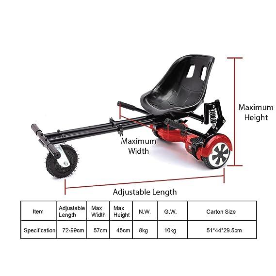 ASAB Hoverboard Go Kart Seat Kit de Conversión de Hoverkart Ajustable para Scooter Eléctrico, Ruedas DE 15 cm para Todos los terrenos, Negro: Amazon.es: ...