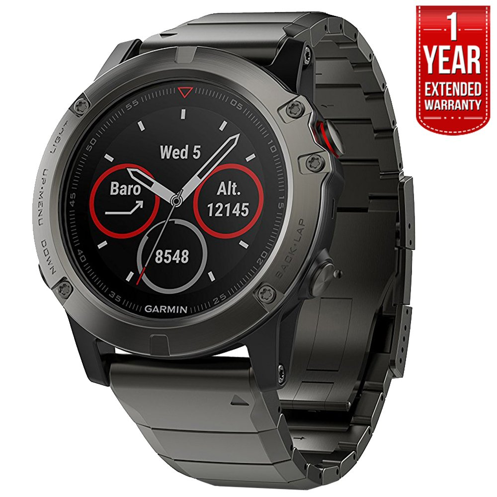 Garmin Fenix 5 Sapphire Multisport 47mm GPS Watch – Slate Gray with Metal Band 010-01688-20 1 Year Extended Warranty