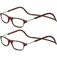 TBOC Leesbrillen voor Heren en Dames - [Twee Eenheden] Schildpad Montuur Brillen met Sterkte Regelbaar Opvouwbaar Trend…