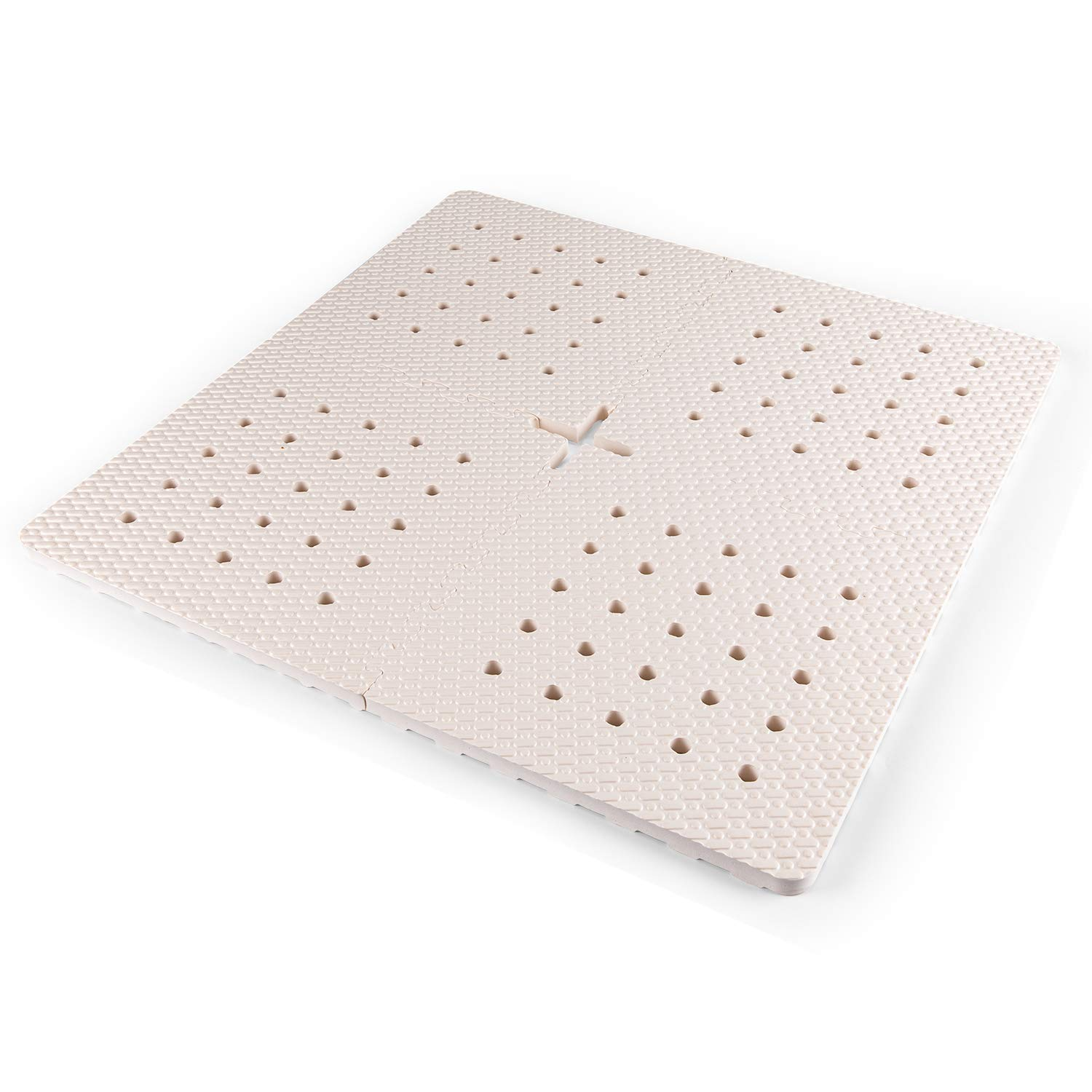 BOWERBIRD Original Anti-Fatigue Shower Stall Mat - Extra Thick and Soft Foam Material Comfortably Cushions Your Feet - Square - Textured with Drain Hole by BOWERBIRD