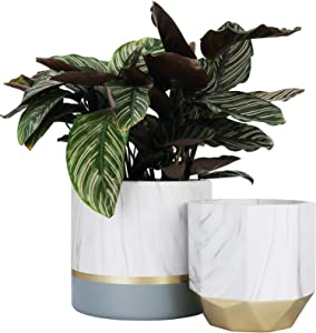 LA JOLIE MUSE White Ceramic Flower Pot Garden Planters 6.7 + 5.4 Inch Indoor, Plant Containers in a Marble Ink Pattern with Gold and Grey Detailing