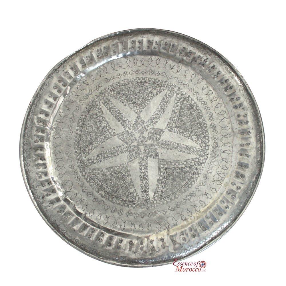Marroquí Vintage bandeja de aluminio mesa superior hecha a mano grabada a mano, 77 cm de diámetro. (Ref. F1): Amazon.es: Hogar