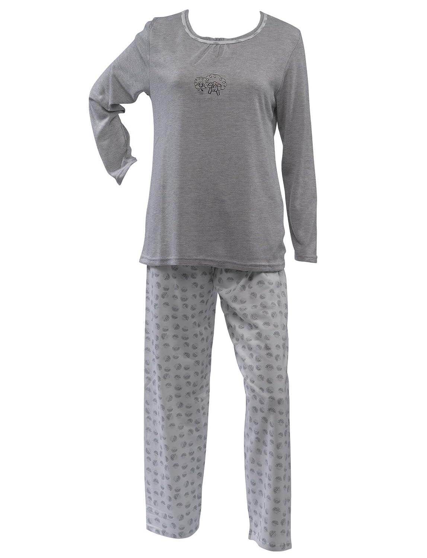 Waite Ltd Ladies 100% Jersey Cotton Pyjamas Sheep Motif Top   Dotty Circle Bottoms  PJs Set (Blue or Grey)  Amazon.co.uk  Clothing 73f52e5c2
