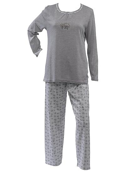 a39f757ce4aa6 Ladies 100% Jersey Cotton Pyjamas Sheep Motif Top & Dotty Circle Bottoms PJs  Set UK