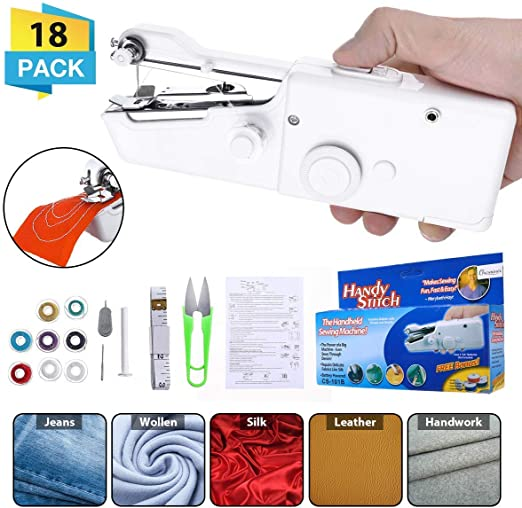 CHARMINER Sewing Machine Mini Hand-held Cordless Portable Sewing Machine Quick Repairing Suitable for Denim Curtains Leather DIY 18 PCS