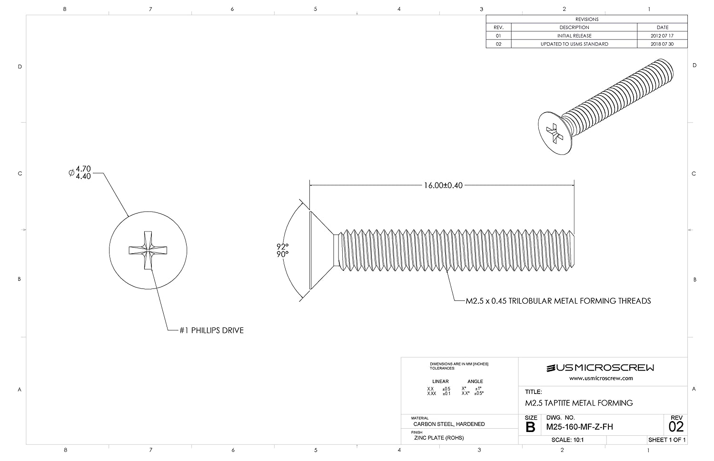 Amazon com : M2 5 X 16mm Metal Forming Screw Zinc Plated Steel Flat