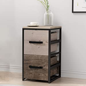GREATMEET Wood File Cabinet with 2 Drawers Metal Frame,Wood Office Cabinet MDF Vertical Filing Cabinet for Legal Letter,15.7