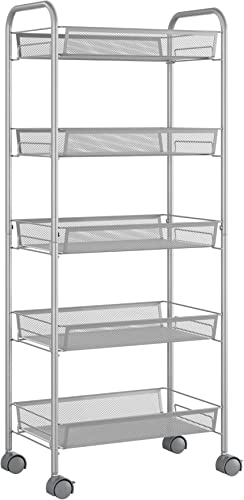Homfa 5-Tier Mesh Wire Rolling Cart Multifunction Utility Cart Kitchen Storage Cart on Wheel