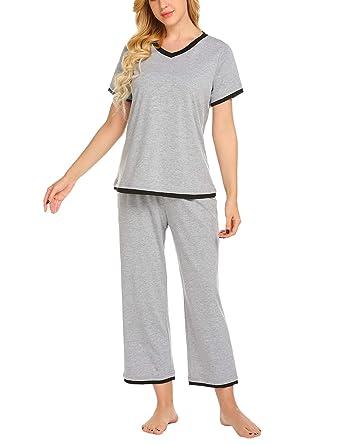 edb199e6e2 Ekouaer Women s Pajama Capri Sets Plus Size Sleepwear Cotton Pjs Two ...