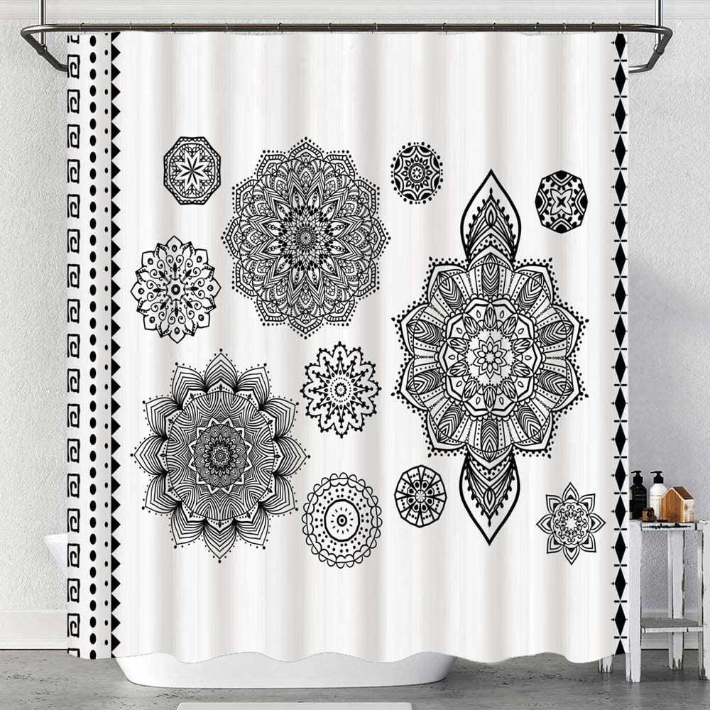 Shower Curtain,Group Different Puppy Breeds Family Type Species Dalmatian Husky Bulldog Image Print,Water Resistant Fabric Bath Curtains with Hooks
