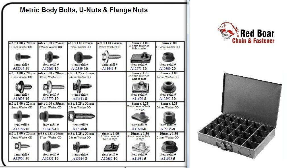 "Metric Body Bolts, U-Nuts, and Flange Nuts in 24 Hole Metal Tray Assortment (13-3/8""w x 9-1/4""d x 2""h)"