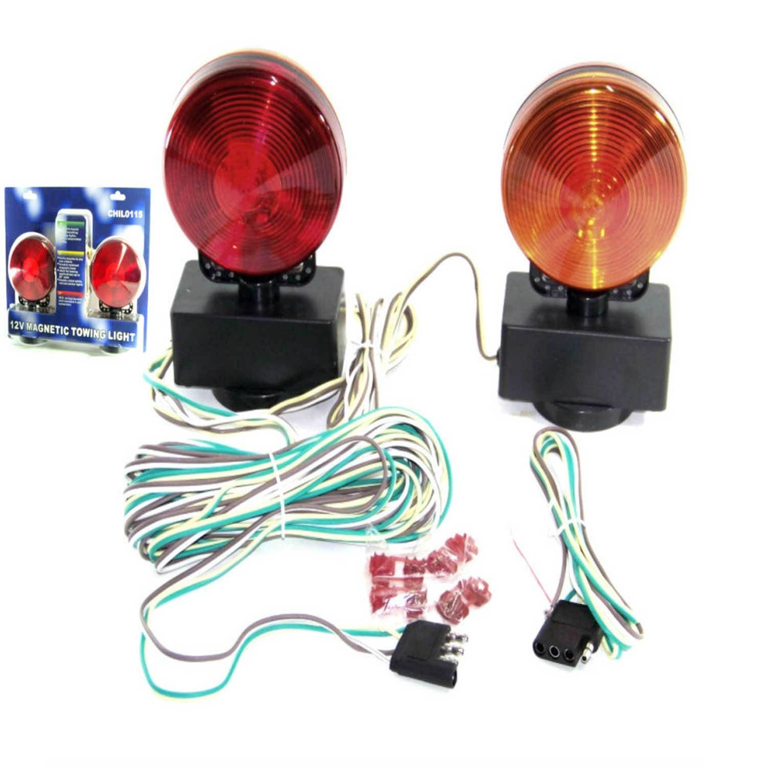12v 3 In 1 Magnetic Towing Tow Light Kit Trailer Truck Tail Break Signal Lights