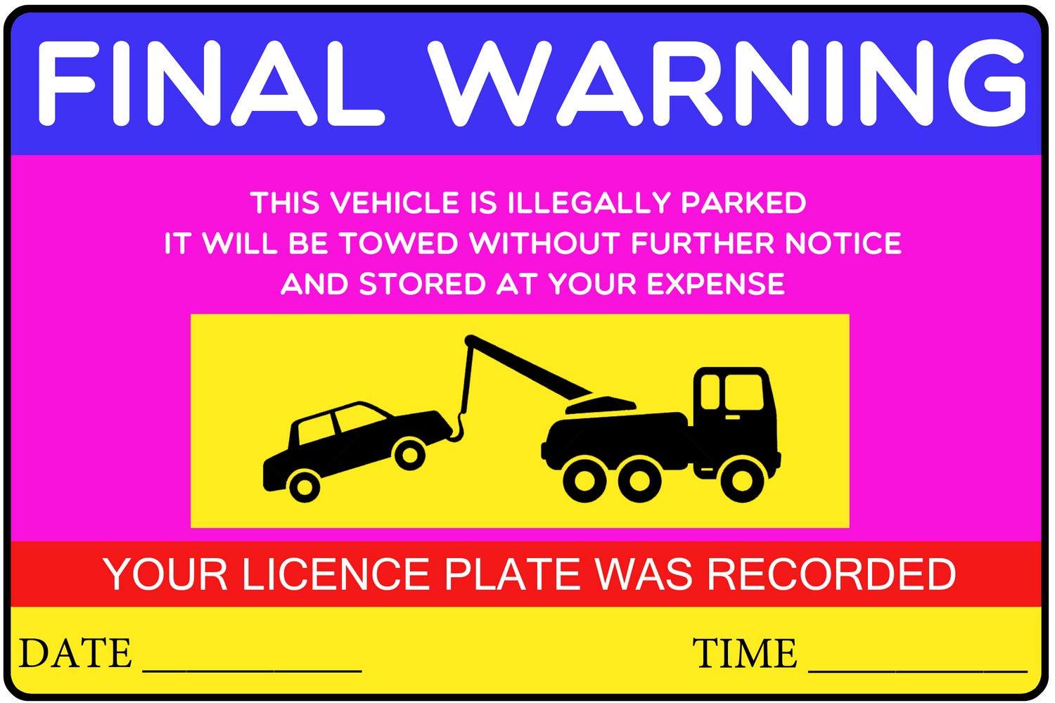 Private Parking Stickers Reserved No Permit Area Violation Warning Notice Label Sticker - 9x6 Inch - Pack of 1000, Magenta by PrintValue